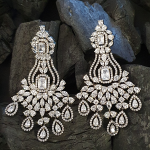 Rhodium Plated Earrings Adorned with White and CZ Stone (BAERS0449)