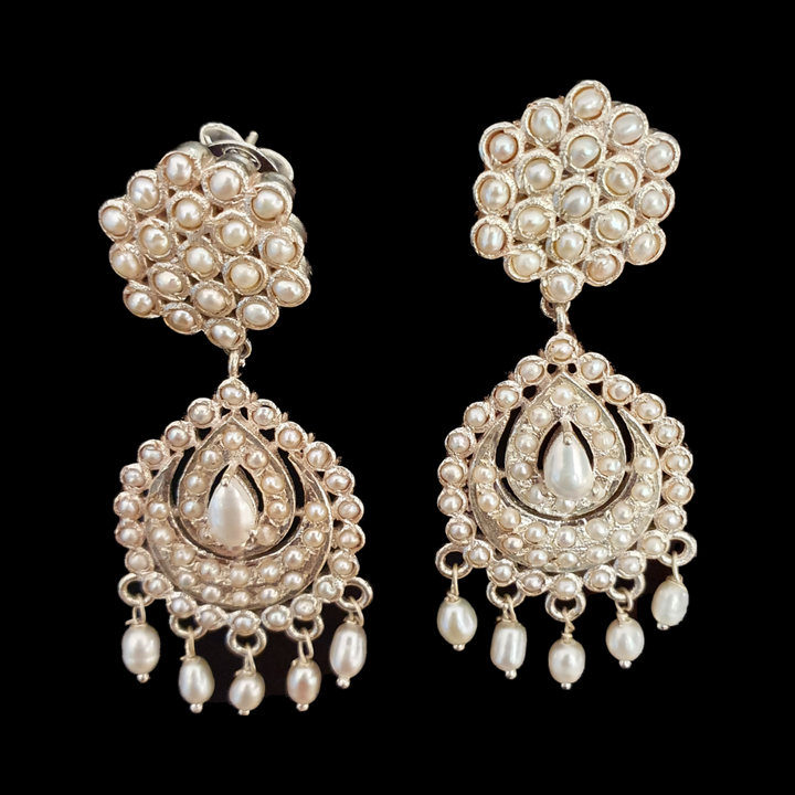 Silver Plated Fashion Earrings with Pearls (BAER0514)