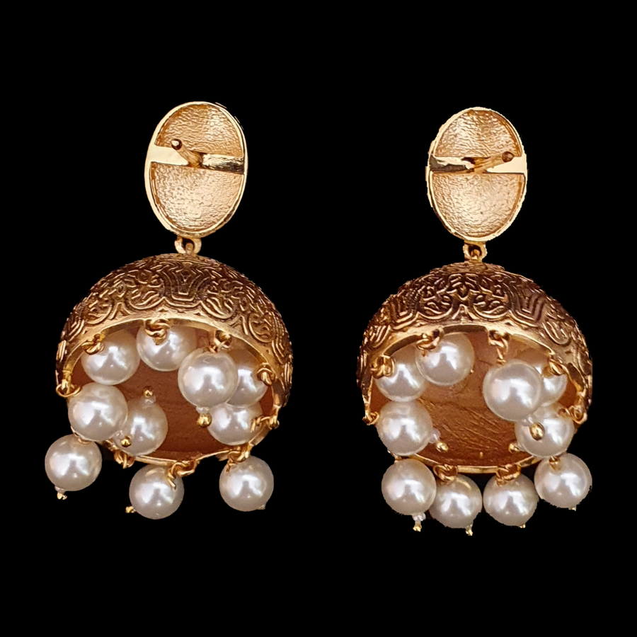 White Pearls Studded Fashion Earrings with Gold Plating (BAER0557)