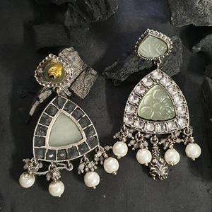 Green Stones Adorned Dangler Earrings with Black Rhodium Plating (BAERM0617)
