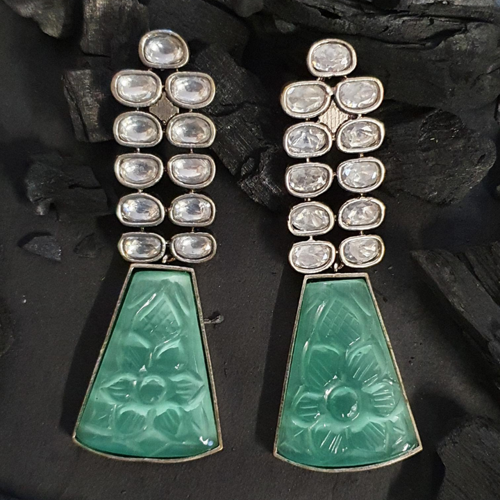 Green Stone Adorned Black Rhodium Plated Fashion Earrings (BAERM0604)
