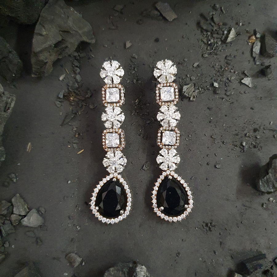 Black Stone Studded Fashion Earrings with Rhodium Plating (BAER0473)