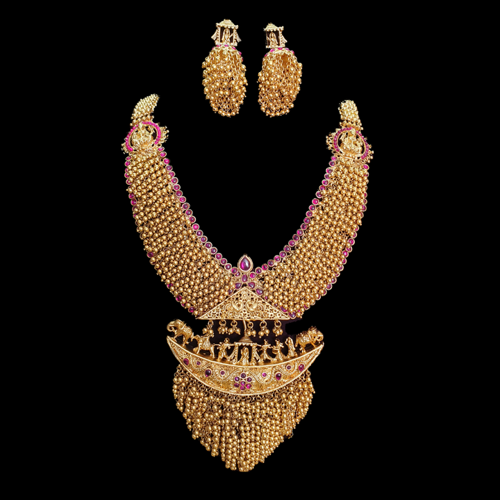 Gold Plated Necklace Set Carved with Ruby Stones and Golden balls (BANS00226)