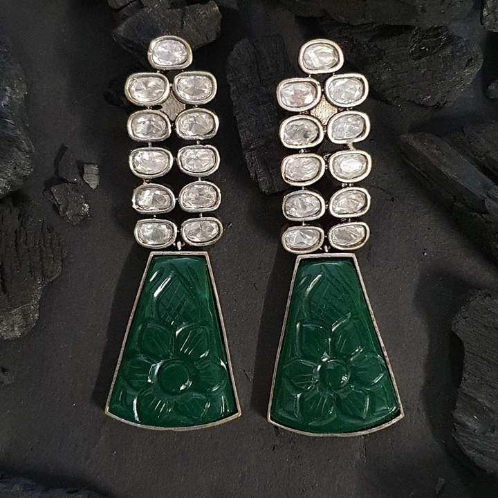 Green Stone Studded Black Rhodium Plated Long Earrings (BAERM0605)