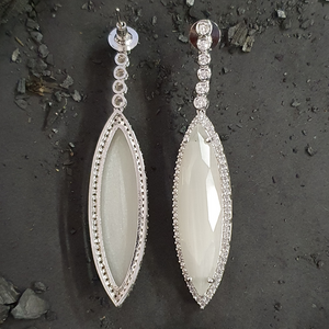 Rhodium Plated Dangler Earrings with Pink and White Stone (BAER0477)