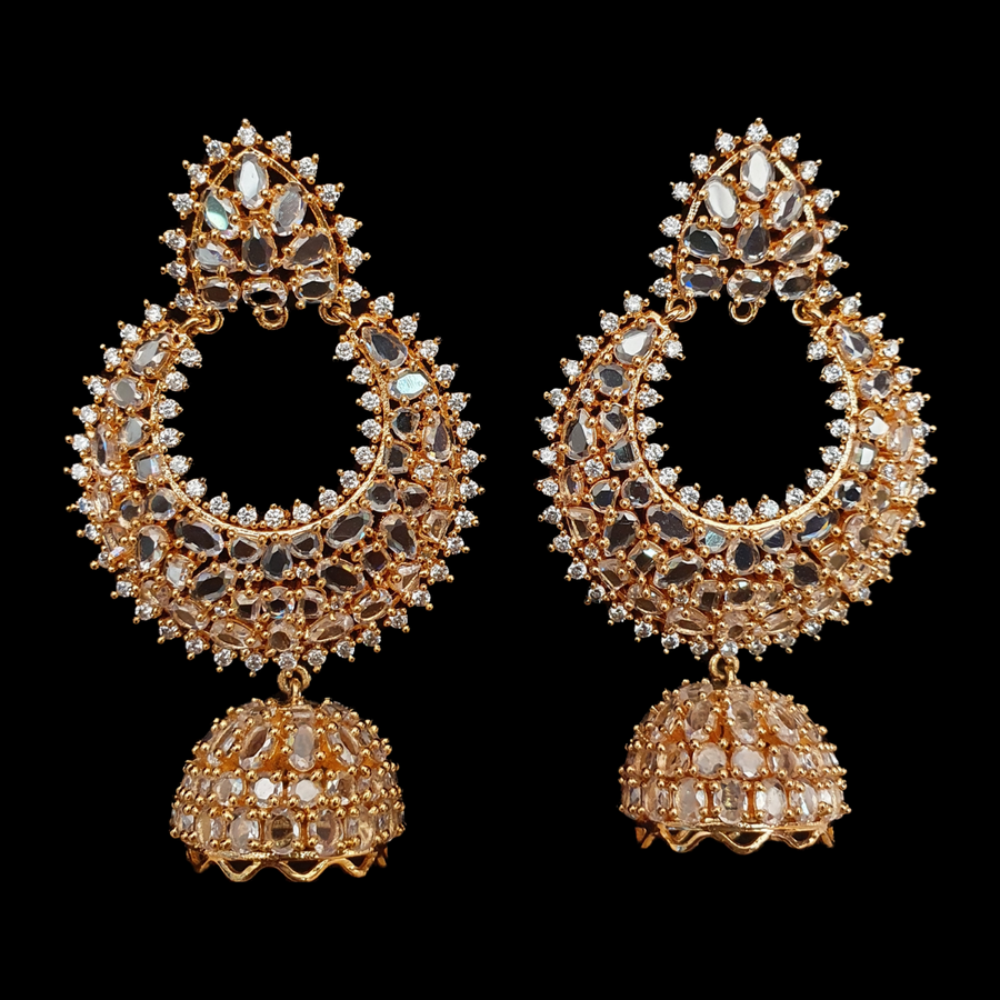 Gold Plated Earrings with Polki Stones (BAER0523)