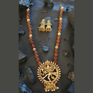 Gold Plated Nataraj Style Necklace Set with Ruby & Emerald Stones (BANS00251)