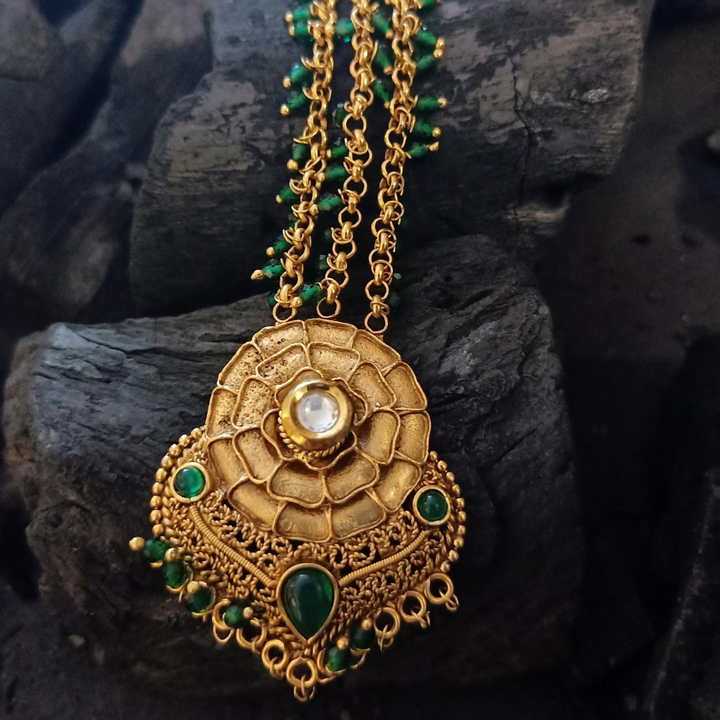 Gold Plated Maang Tikka with Emerald Stones and Pearls (BAMT045)