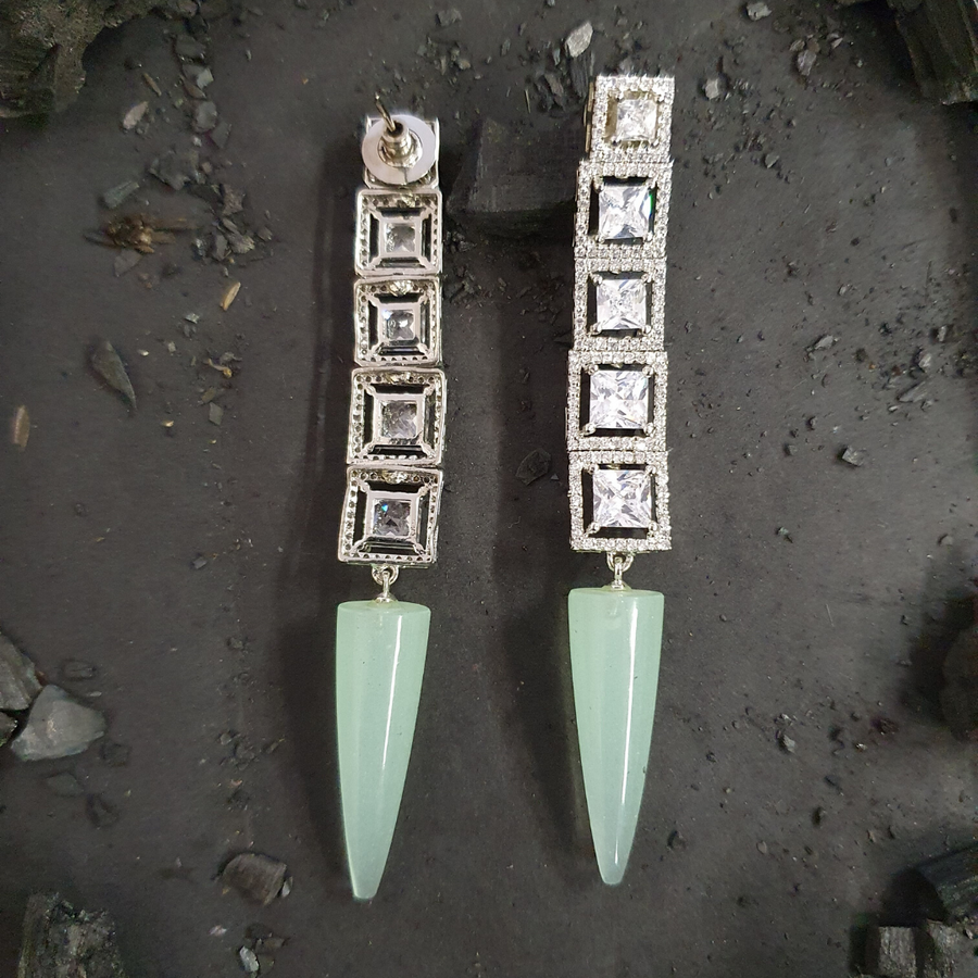 Rhodium Plated Earrings with Cubic Zirconia Stones and Green Stone (BAER0471)
