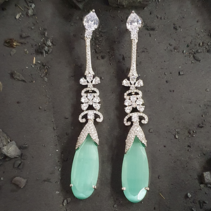 Rhodium Plated Earrings Adorned with Green and CZ Stone (BAER0476)