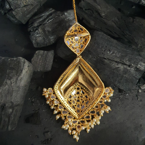 Gold Plated Maang Tikka with Polki Stones and Pearls (BAMT024)
