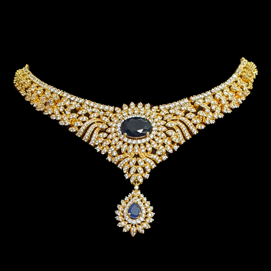 Gold Plated Necklace Set having CZ Stone and Blue Stone (BANS00185)