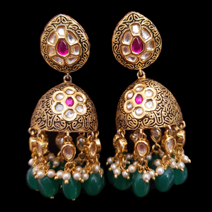 Gold Plated Dangler Earrings with Ruby and Vilandi Stones (BAER0544)