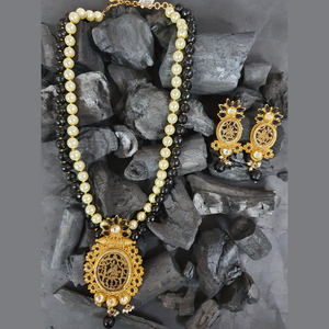 Gold Plated Beautifully Carved Necklace Set with Elite Pearls (BANS00268)