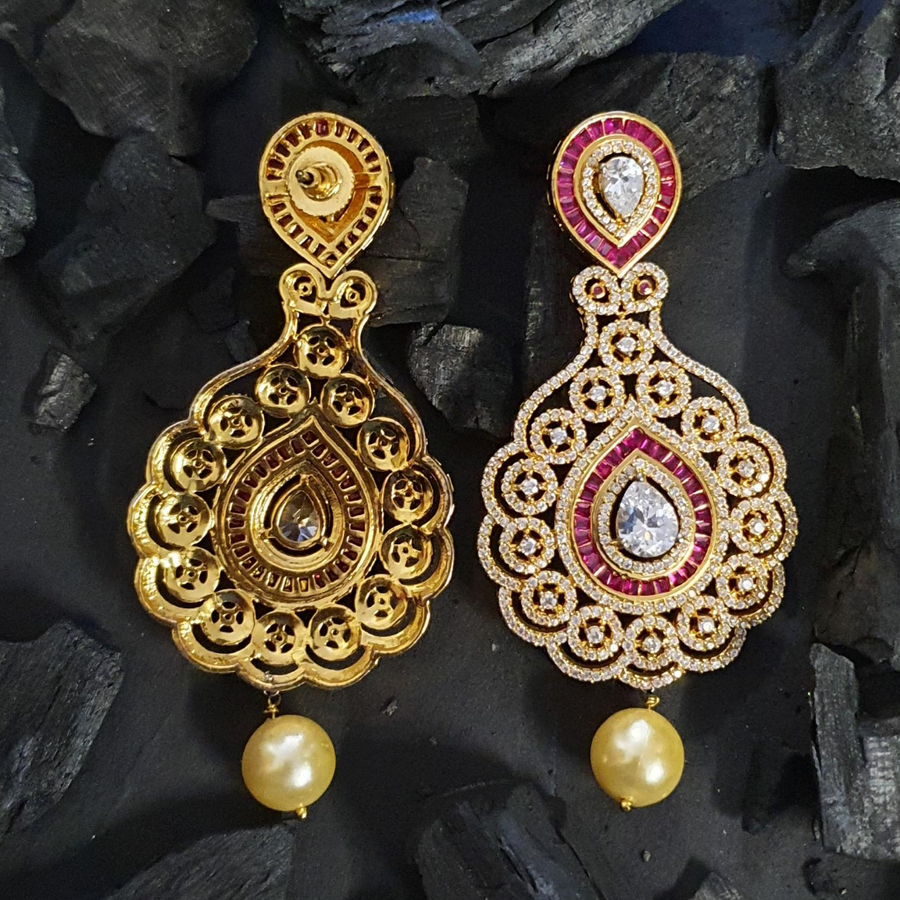 Gold Plated Dangler Earrings with American Diamonds (BAERS0614)