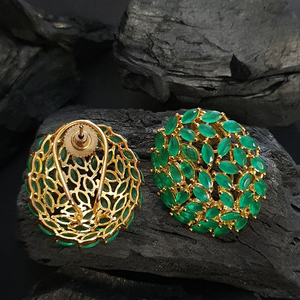 Green Stone Studded Gold Plated Stud Earrings (BAER0573)