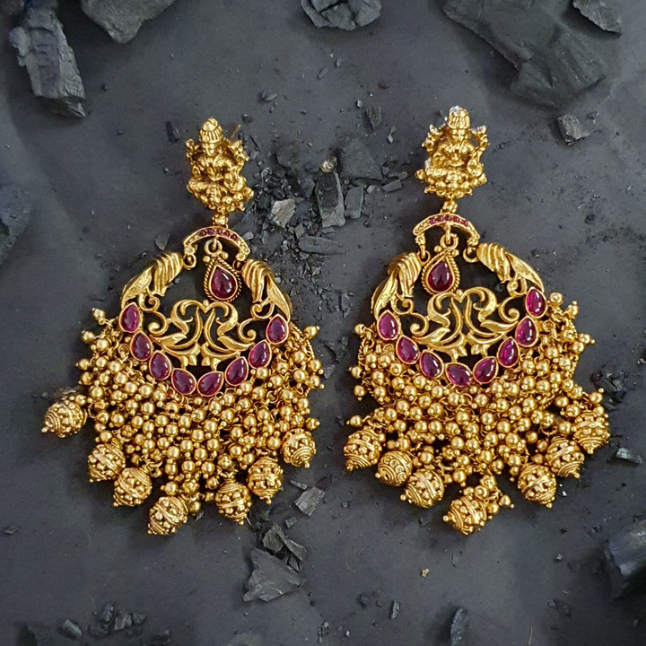 Ruby Stone Studded Gold Plated Temple Earrings (BAER0457)
