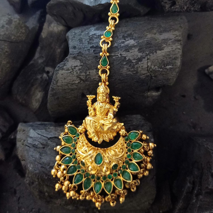 Gold Plated Ethnic Maang Tikka having Attractive Green Stones and Golden Balls (BAMT042)