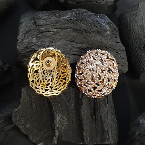 Yellow Stones Decked Stud Earrings with Gold Plating (BAER0574)