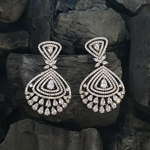Rhodium Plated Dangler Earrings with CZ Stone (BAER0566)