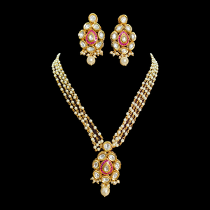 Vilandi Stone Studded Gold Plated Necklace Set (BANS00206)