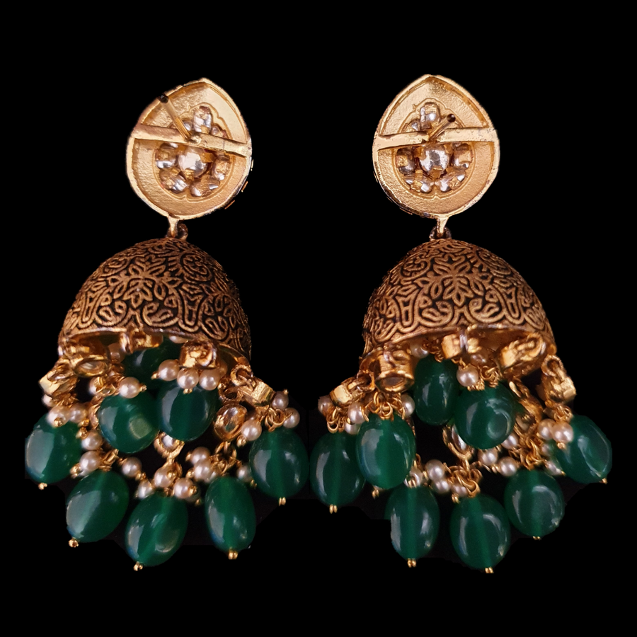Gold Plated Dangler Earrings with Ruby and Vilandi Stones (BAERS0544)