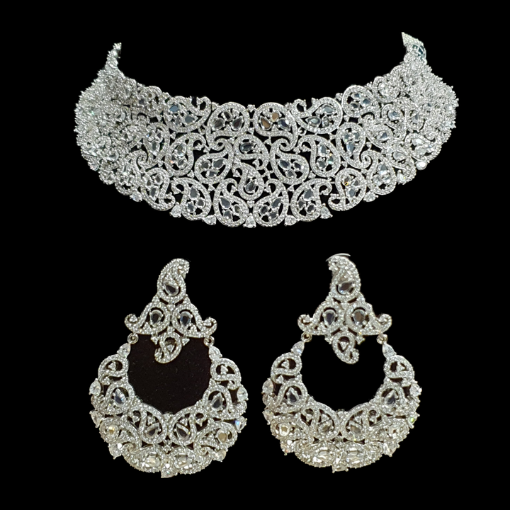 Rhodium Plated White Necklace Set having Attractive CZ Stones Carvings (BANS00127)