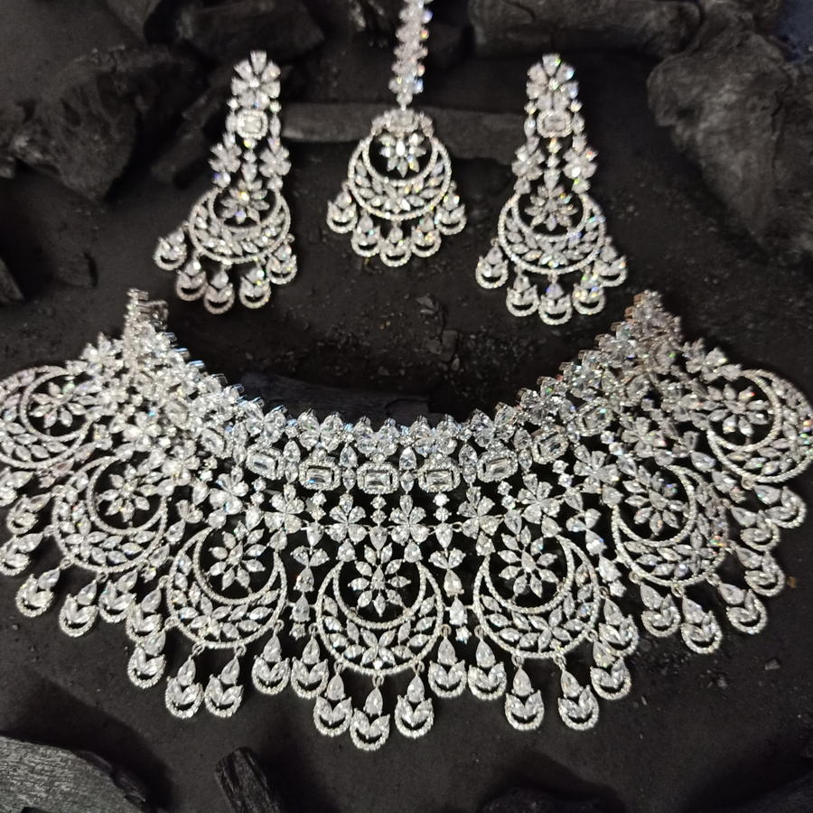 Rhodium Plated Necklace Set having Pretty CZ Stones (BANSR00240)