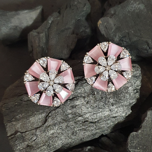 Rhodium Plated Stud Earrings with Pink Stone (BAER0630)