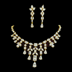 Gold Plated Necklace Set having Attractive CZ Stone (BANS00186)