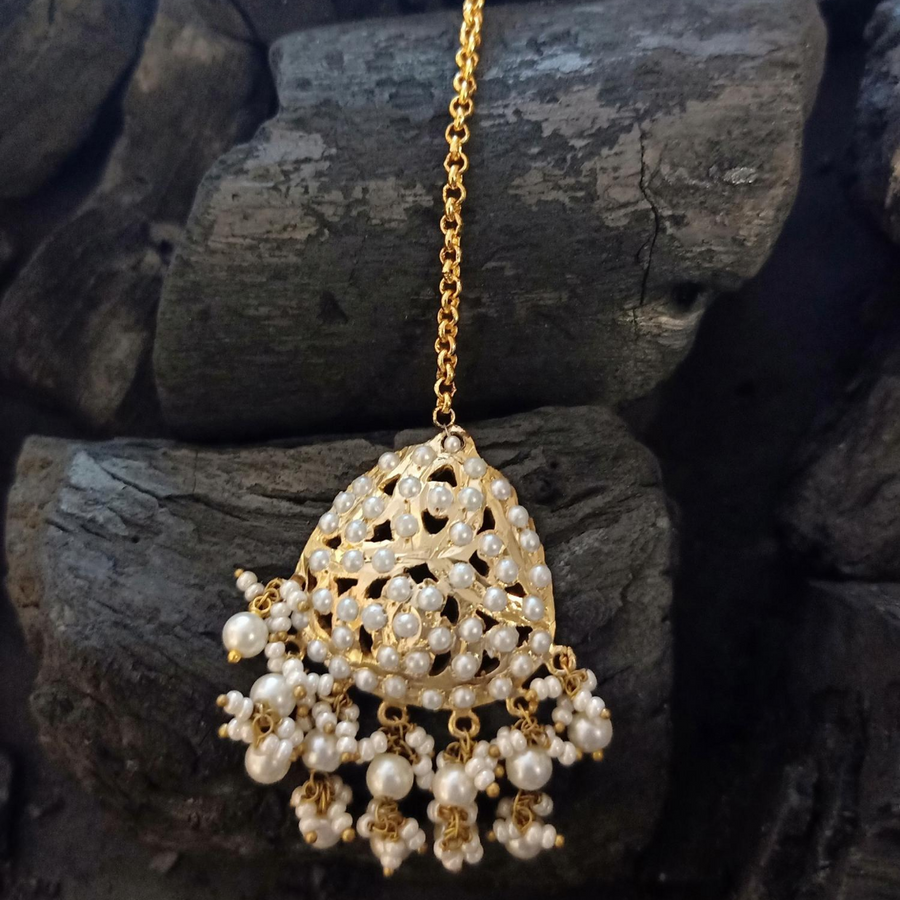 Gold Plated Maang Tikka Carved with Elegant White Pearls (BAMT036)