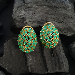 Gold Plated Stud Earrings with Emerald Stones (BAER0576)