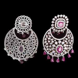 Rhodium Plated Long Earrings with Ruby Stones (BAER0518)