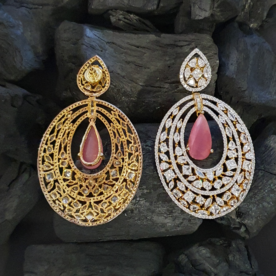 Gold Plated Dangler Earrings with Pink and White Stone (BAER0450)