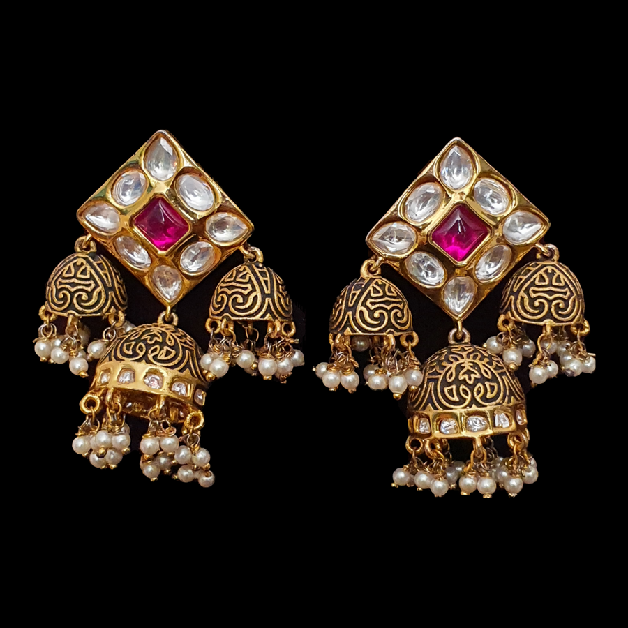 Ruby Stone Decked Jhumka Earrings with Gold Plating (BAER0542)