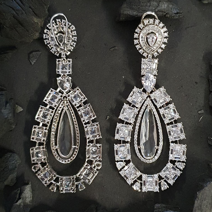 CZ Stones Adorned Dangler Earrings with Rhodium Plating (BAER0585)