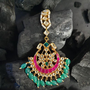 Gold Plated Maang Tikka with Multi Color Stones (BAMT028)