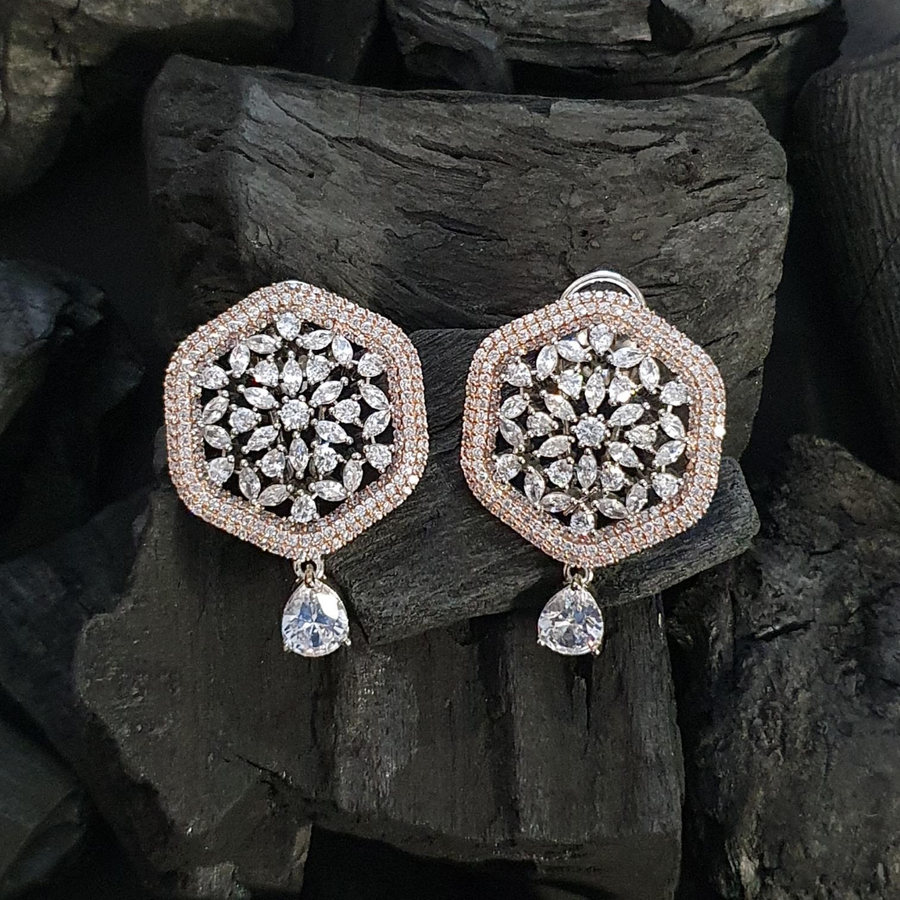 Rhodium Plated Pretty Earrings with CZ Stone (BAER0579)