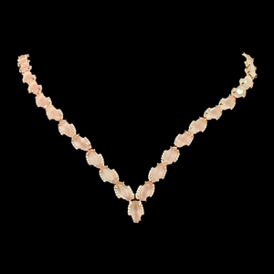 CZ and Pink Stone Embellished Rose Gold Plated Necklace Set (BANS00148)