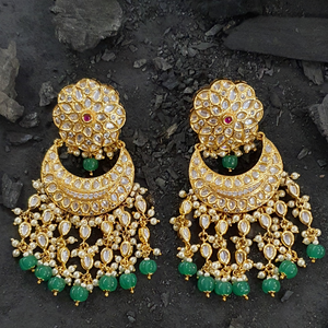 Green Stone Studded Long Earrings with Gold Plating and Pearls (BAER0421)