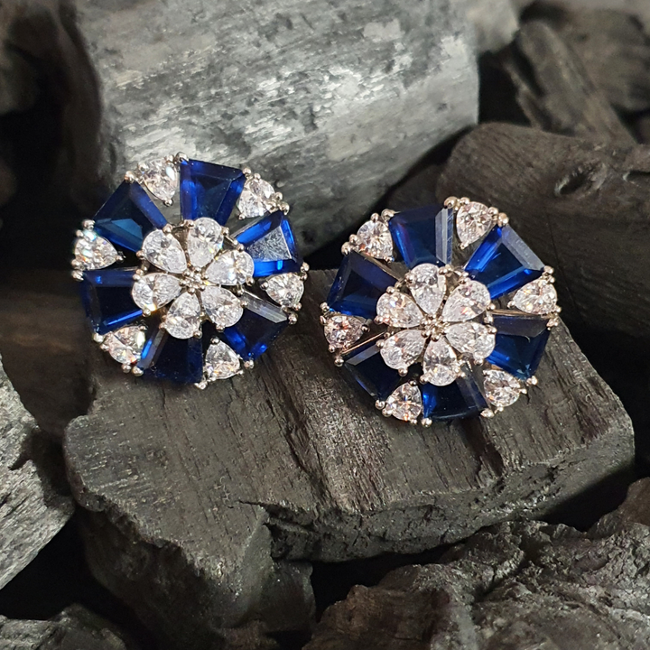 Rhodium Plated STud Earrings with Blue and White Stones (BAER0632)