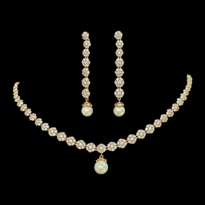 CZ Stone Studded Necklace Set with Gold Plating and Hanging Pearls (BANS00150)