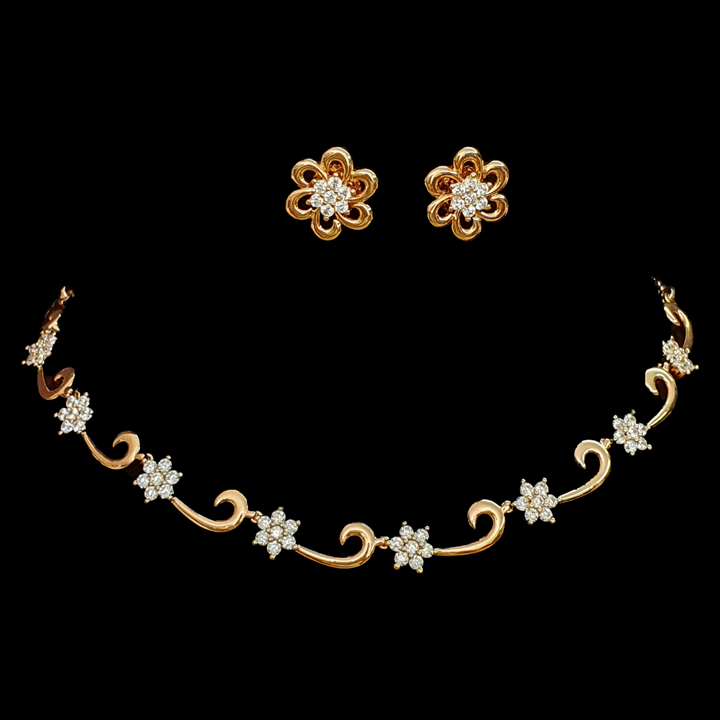 Gold Plated Floral Style Necklace Set with Cubic Zirconia Stones (BANS00156)