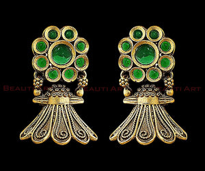 Antique Gold Plated Earrings studded with Green Stone (BAER0224)