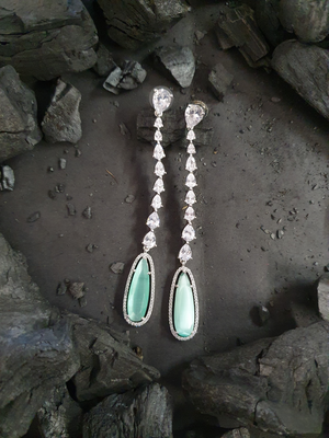 Rhodium Plated Long Earrings with Green Stones (BAER0490)