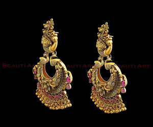 Gold Plated Jhumka Earrings with Ruby Stone (BAER0237)