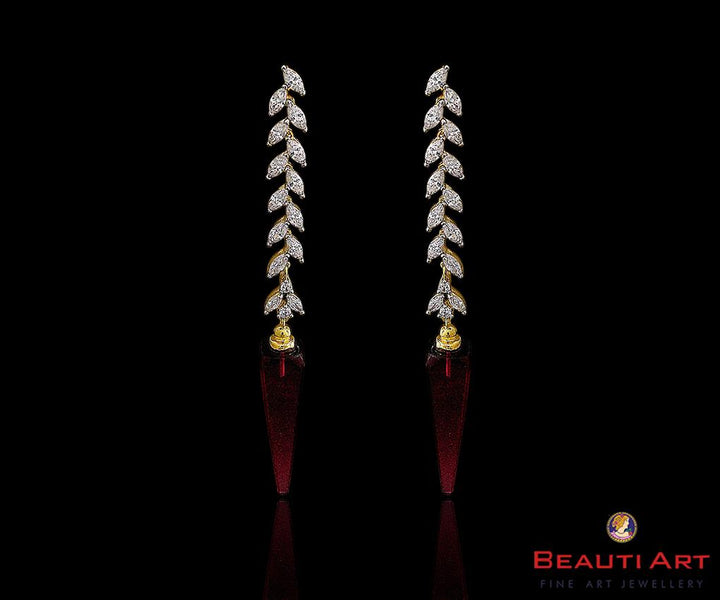 Gold Plated White Long Earrings with CZ Stone (BAER0192)