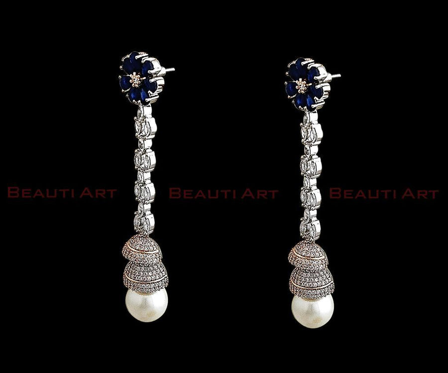 Long Earrings studded with blue stone and CZ Stone having Rhodium Plating (BAER0256)