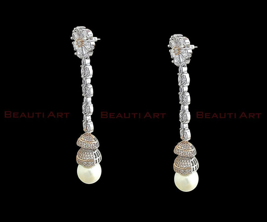 Long Earrings studded with white stone and CZ Stone having Rhodium Plating (BAER0262)