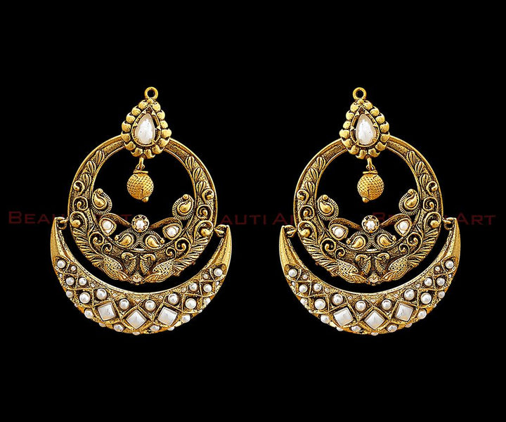 Pearls Adorned Antique Gold Plated White Earrings (BAER0288)